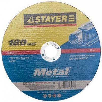 Круг отрезной STAYER MASTER 36220-180-1.6_z01 абразивный для УШМ 180х1.6х22.2мм по металлу петля для металлических дверей 180мм stayer master 37615 180