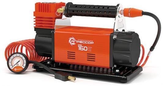 Компрессор АГРЕССОР AGR-160 металл 12V 600W 160л/мин переходники для лодок сумка компрессор автомобильный агрессор agr 30l металлический 12v 140w производ сть 30 л мин led фонарь сумка 1 8