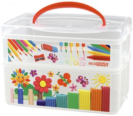 Купить КОРОБКА УНИВЕРСАЛЬНАЯ С РУЧКОЙ И ДЕКОРОМ ART BOX 2 СЕКЦИИ, 245Х160х165ММ в кор.9шт, Бытпласт, Хранение игрушек