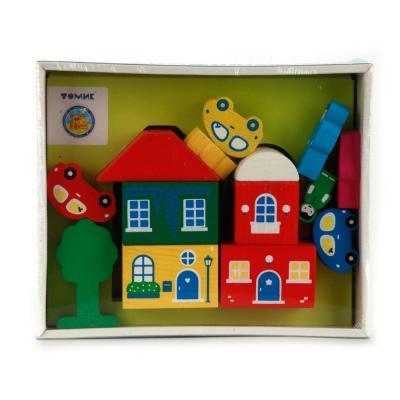 Конструктор Томик Цветной городок 14 элементов деревянные игрушки томик конструктор цветной городок синий 14 деталей