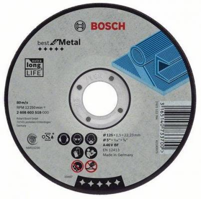 Круг отрезной BOSCH Best for Metal 125x1,5x22 (2.608.603.518) по металлу отрезной круг bosch expert for inox 125х1мм 2608600549