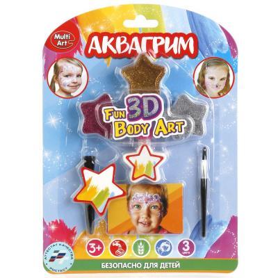 Купить Аквагрим & Тату MultiArt: блестки 3 цвета, 2 кисточки, 2 трафарета для тату на блистере в кор.4*12шт, Прочие краски