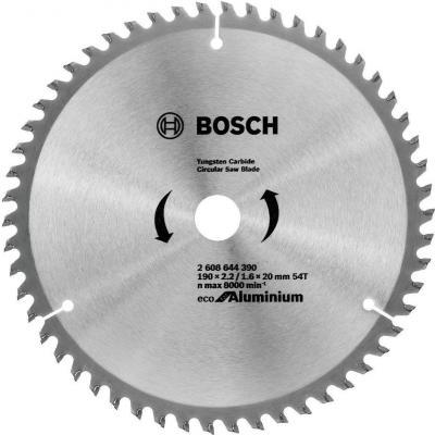 Диск пильный твердосплавный BOSCH ECO AL 190x30-54T (2.608.644.389) по алюминию диск пильный твердосплавный bosch eco al 254x30 96t 2 608 644 395