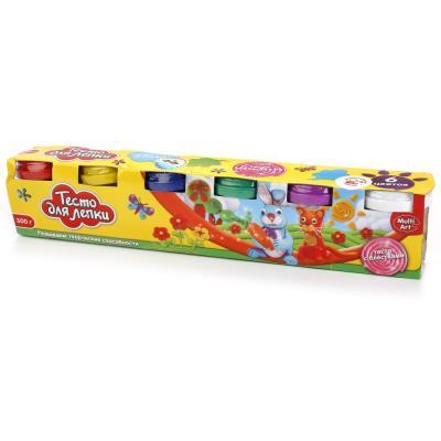 Купить Тесто для лепки MultiArt с блестками 6*50гр, 6 цветов (русс. кор.) в кор.2*12шт, Тесто и масса для лепки