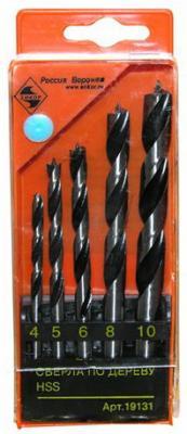 Набор сверл ЭНКОР 19131 по дереву 5шт. ф 4,5,6,8,10 пласт набор инструментов энкор 57054
