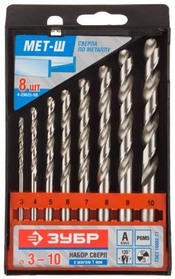Набор сверл ЗУБР 4-29625-H8 ЭКСПЕРТ по металлу стальP6M5 3-10мм 8шт. набор сверл по металлу зубр эксперт 4 29625 h10 p