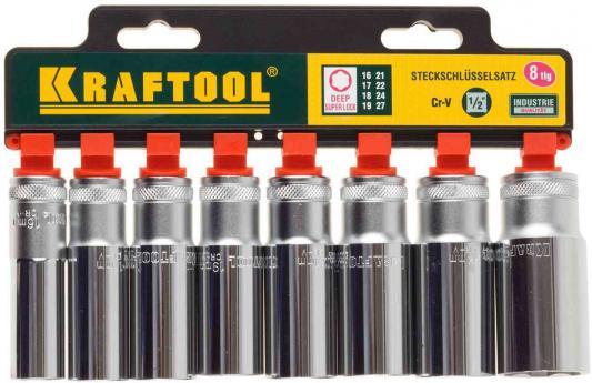 Набор KRAFTOOL EXPERT QUALITAT 27865-H8_z01 SUPER LOCK удлин. 1/2. 16-27мм. 8 предметов
