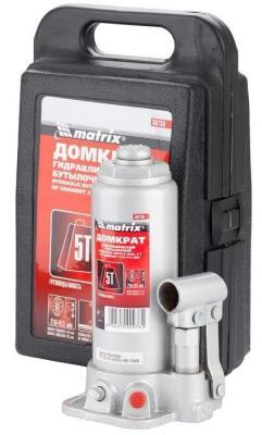 цены Домкрат MATRIX 50756 бутылочный 5т h подъема 216–413мм в пласт. кейсе