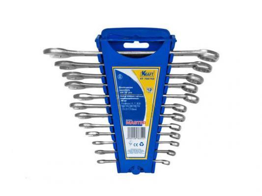 Набор комбинированных ключей KRAFT КТ 700762 Master (6 - 19 мм) 12 шт. хром-ванадиевая сталь (Cr-V) ключ комбинированный kraft кт 700510 16 мм хром ванадиевая сталь cr v