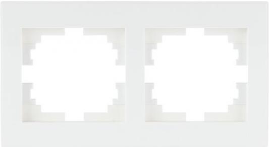 Рамка LEZARD 703-0202-147 серия Рейн 2-ая горизонтальная белый с белой вставкой