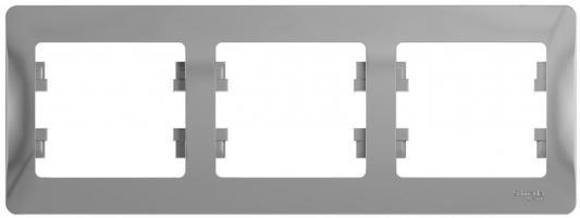 Рамка SCHNEIDER ELECTRIC GLOSSA 1063725 3-постовая РАМКА. горизонтальная. АЛЮМИНИЙ