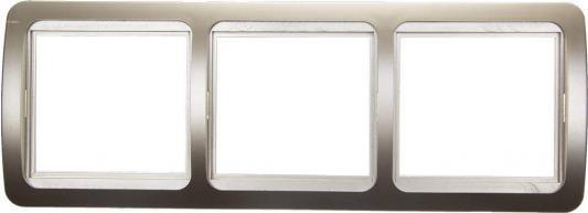 Рамка СВЕТОЗАР SV-54148-GM гамма накладная горизонтальная золотой металлик 3 гнезда