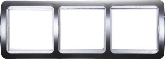 Рамка СВЕТОЗАР SV-54148-SM гамма накладная горизонтальная светло-серый металлик 3 гнезда панель светозар sv 54148 gm