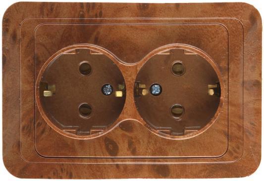 Розетка СВЕТОЗАР SV-54107-N гамма с заземлением двойная орех 16А/~250в розетка двойная светозар гамма sv 54102 a