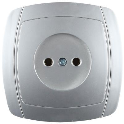 Розетка СВЕТОЗАР SV-54200-SM акцент одинарная в сборе б/з 16А 250В серебристый металлик