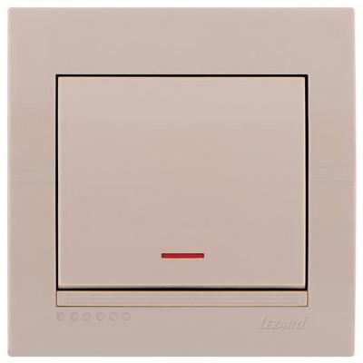 Выключатель LEZARD 702-0303-114 проходной подсветка серия скр.проводки Дери кремовый