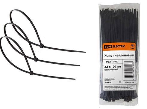 Хомут TDM SQ0515-0201 2.5х100мм нейлон черный 100шт. крепление для трубы клипса tdm electric 25мм 100шт серый