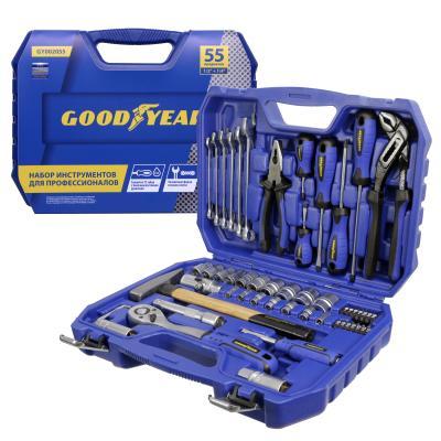 Набор инструментов GOODYEAR GY002055  55 пр. в пластиковом кейсе 1/2, 1/4 (Goodyear) Турочак инструменты для