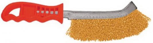 Кордщетка ручная FIT 38408 с изогнутой пластиковой ручкой латунированная тип в