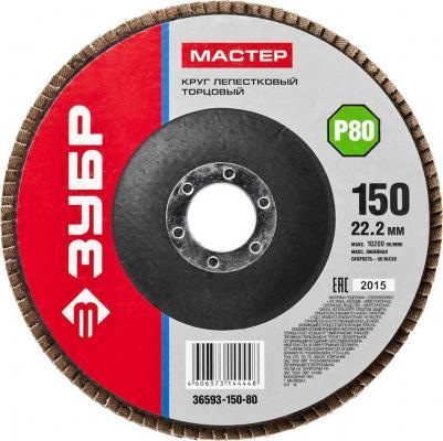 Круг Лепестковый Торцевой (КЛТ) ЗУБР 36593-150-80 МАСТЕР зерно-электрокорунд КЛТ1 P80 150х22.2мм цена
