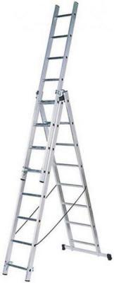 Лестница FIT 65434 трехсекционная алюминиевая 3х9 ступеней лестница трехсекционная dogrular 411312 3x12