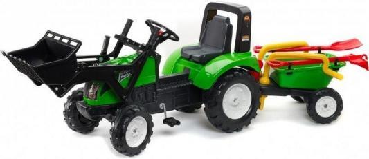 Каталка-самосвал Falk Трактор-экскаватор зеленый от 3 лет пластик FAL 1057RM каталка квадроцикл falk принцесса лиловый от 3 лет пластик fal608