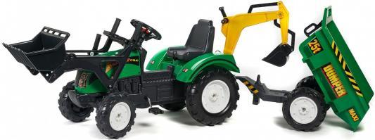 Каталка-самосвал Falk Трактор-экскаватор зеленый от 3 лет пластик FAL 2082Z каталка квадроцикл falk принцесса лиловый от 3 лет пластик fal608