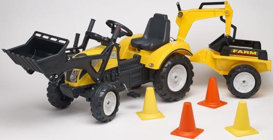 Каталка-трактор Falk Трактор-экскаватор желтый от 3 лет пластик FAL 2085XC каталка квадроцикл falk принцесса лиловый от 3 лет пластик fal608