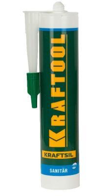 Герметик силиконовый KRAFTOOL 41255-0 белый санитарный для помещений с повышенной влажностью 300мл герметик kraftool силиконовый белый санитарный 300 мл 41255 0