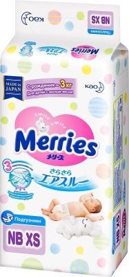 MERRIES Подгузники для детей с малым весом размер NB XS до 3 кг, 38 шт merries подгузники для детей размер м 6 11кг 64шт