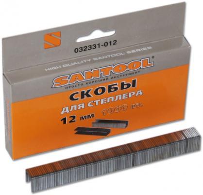 Скобы для степлера Santool 12 мм 1000 шт алюминиевая линейка с пластмассовой ручкой 2 глазка 1000 мм santool 050407 001 100