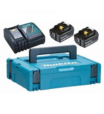 Аккумулятор MAKITA 198310-8 DC18RC-1шт+BL1840B-2шт, 18В, 4.0Ач, Li-ion, MakPac charger for makita li ion battery bl1830 bl1430 dc18rc dc18ra dc18rct 100 240v 50 60hz