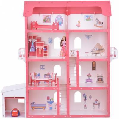 Дом для кукол Коттедж Александра бело-красный с мебелью