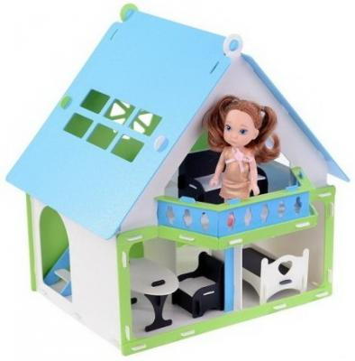 все цены на Домик для кукол Дачный дом Варенька бело- голубой с мебелью онлайн