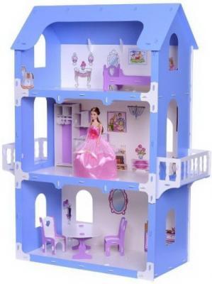 Домик для кукол Коттедж Екатерина бело-синий с мебелью