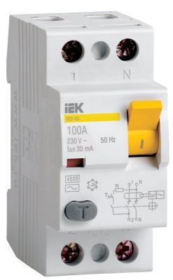 Выключатель дифференциального тока ИЭК 2п 16А/30 мА  УЗО MDV10-2-016-030