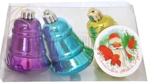 Купить Набор украшений елочных Winter Wings Колокольчики цвет в ассортименте 6 см 3 шт пластик, Елочные украшения