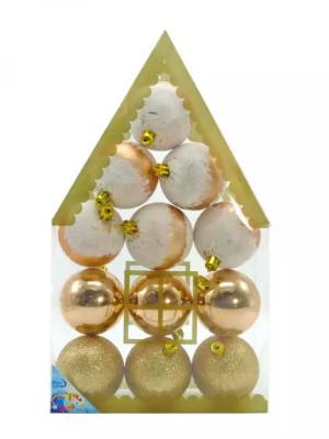 Елочные украшения Winter Wings ШАРЫ золотой 6 см 12 шт пластик