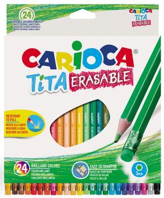 Набор цветных карандашей CARIOCA Tita Erasable 24 шт