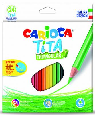 Набор цветных карандашей CARIOCA Tita 24 шт набор карандашей цветных carioca 24цв точилка