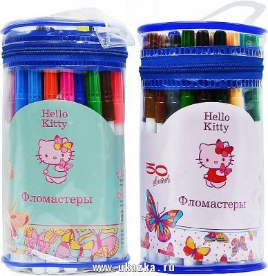 Набор фломастеров ACTION! Hello Kitty, 50 цв.,круглый п/п пенал с ручкой, 2 диз. пенал п 1в