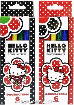 Набор фломастеров ACTION! Hello Kitty, 6цв., картон с е/п, 2 диз. набор фломастеров action dragons 24 цв картон с е п 2 диз печать на корпусе