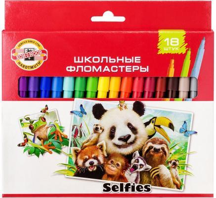 Набор фломастеров школьных SELFIES, 18 цветов, картонная коробка