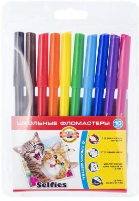 Набор фломастеров школьных SELFIES, 6 цветов, блистер цена