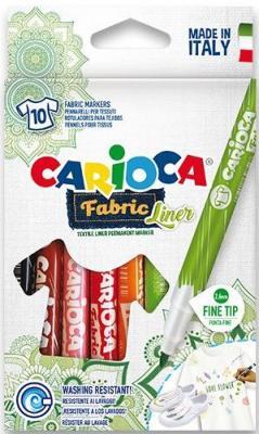 Набор фломастеров по текстилю CARIOCA FABRIC LINER, 10 цв., в картонной коробке с европодвесом набор шаров блестки 4 шт в картонной коробке 7 см 4 цв