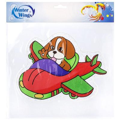 Купить Наклейка Winter Wings Собака в самолёте 30х33 см, Атрибуты для праздника