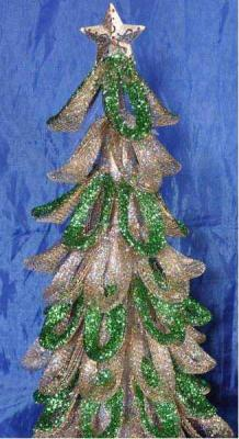Купить Елка декоративная, металлик с блестящей крошкой, 40 см, зелено-золотая, Winter Wings, Искусственные ели и сосны