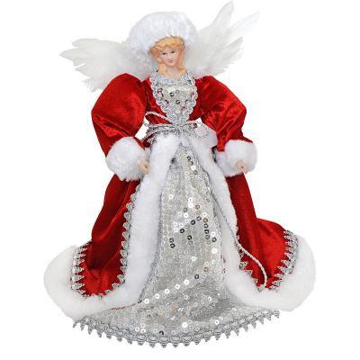 Украшение декоративное АНГЕЛ в красном платье, 31 см,пластик, полиэстр, 1 шт декоративное украшение ангел 28047