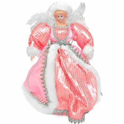 Украшение декоративное АНГЕЛ в розовом платье, 31 см, пластик, полиэстр, 1 шт декоративное украшение ангел 28047