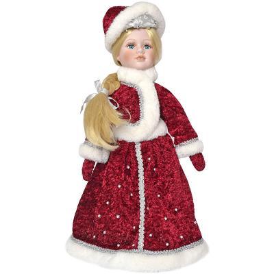 Новогодняя игрушка снегурочка Winter Wings Снегурочка полиэстер пластик красный 40 см, пластик, полиэстер, Символ Года  - купить со скидкой